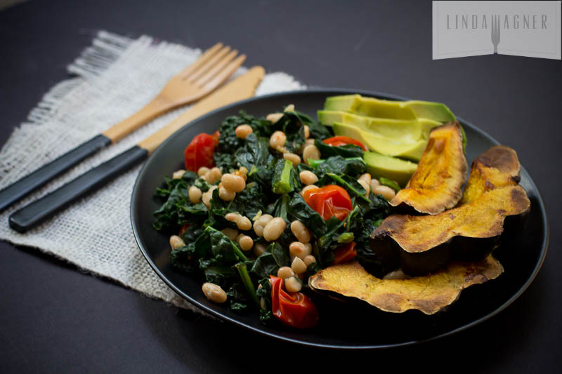Shawn Johnson's The Body Department - Garlicky Kale with White Beans & Tomatoes